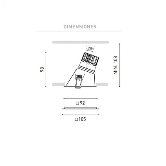 ARKOSLIGHT SWAP SQUARE ASYMMETRIC DOWNLIGHT LED CUADRADO
